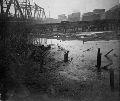 """The Infamous Bubbly Creek - a Fork of the South Branch of the Chicago River Where So Much Organic Waste Flowed from the Meat Packing """"Disassembly"""" Factories and Industrial Plants, the Creek Literally Bubbled (Steven Casey)"""