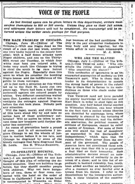 Chicago Tribune July 7 1919 Ida Letter