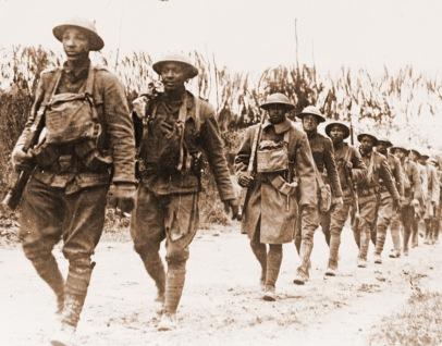 Black Infantry Soliders Marching Verdun